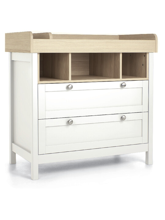 Harwell 4 Piece Cotbed with Dresser Changer, Wardrobe, and Essential Fibre Mattress Set- White image number 3