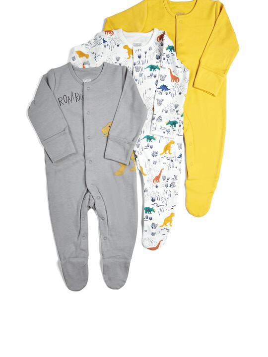 Pack of 3 Dino Sleepsuits image number 1
