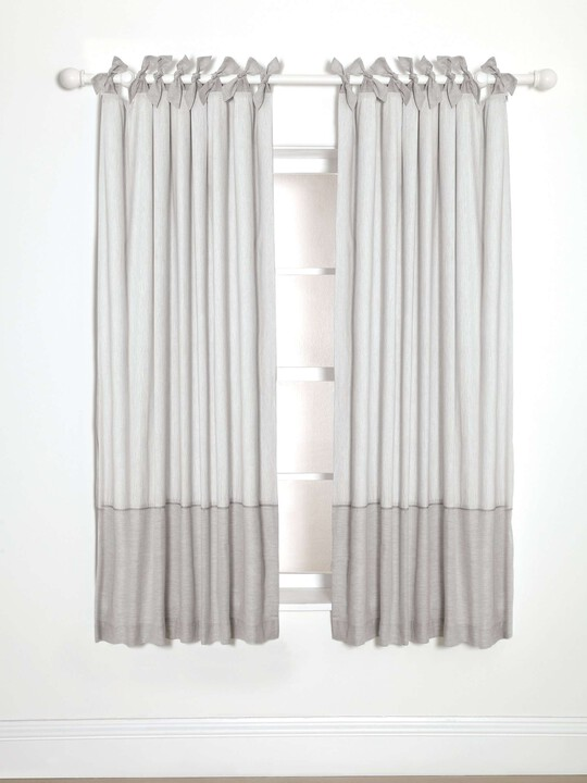 Lined Tie Top Curtains - Welcome to the World - 132 x 160cm image number 1
