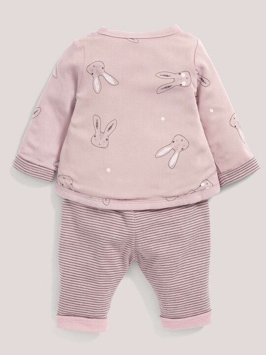 Rabbit Print Quilted Jersey Wrap Top & Trouser Set Pink- New Born image number 2
