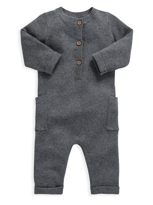 Grey Knitted Ribbed Romper image number 1