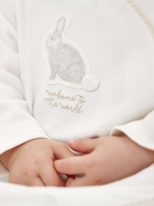 Bunny Applique All-In-One with collar Sand- New Born image number 3