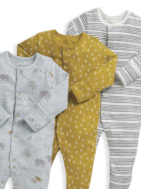 3 Pack Safari Sleepsuits  image number 5