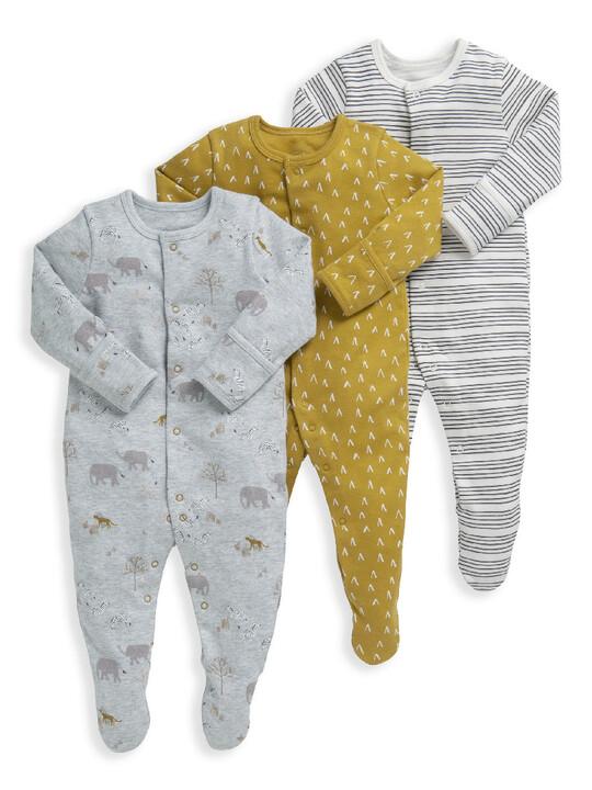 3 Pack Safari Sleepsuits  image number 1