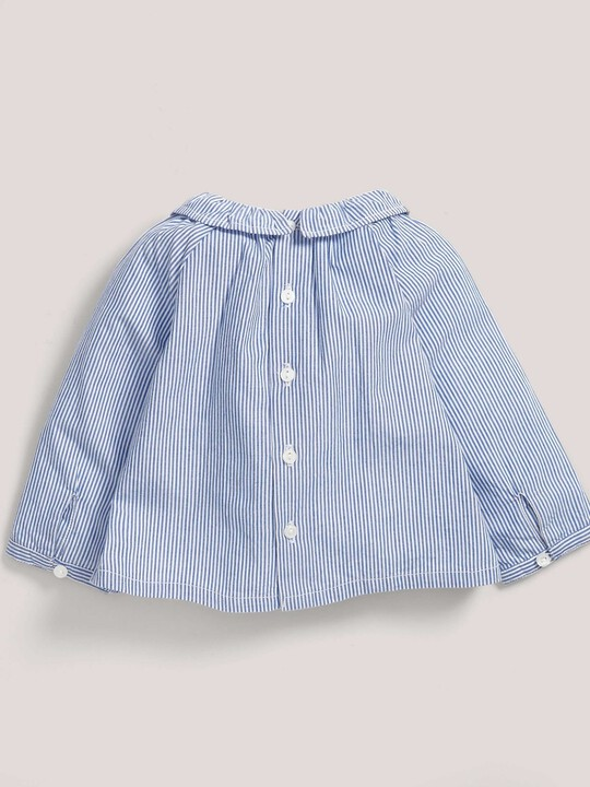 Stripe Embroidered Collar Blouse Blue- 0-3 image number 2