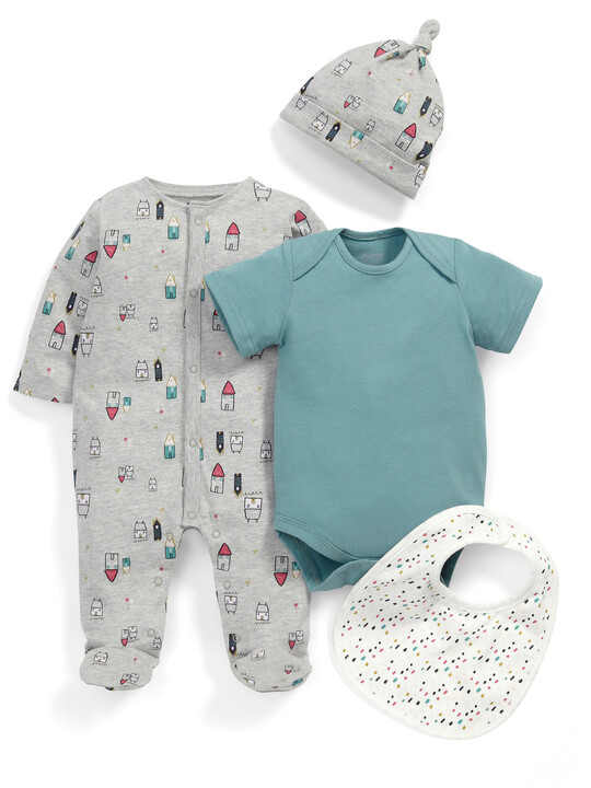 House Print All-in-One, Bodysuit, Bib & Hat Set image number 1
