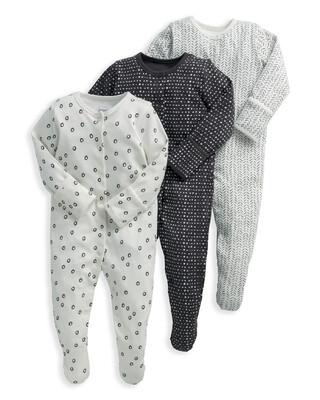Monochrome Sleepsuits 3 Pack