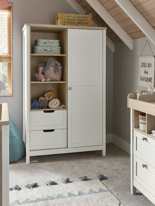 Harwell 4 Piece Cotbed with Dresser Changer, Wardrobe, and Essential Fibre Mattress Set- White image number 18