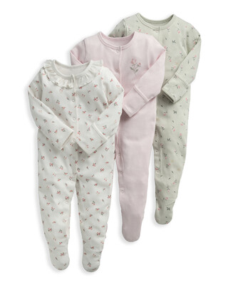 3 Pack Rose Print Sleepsuits