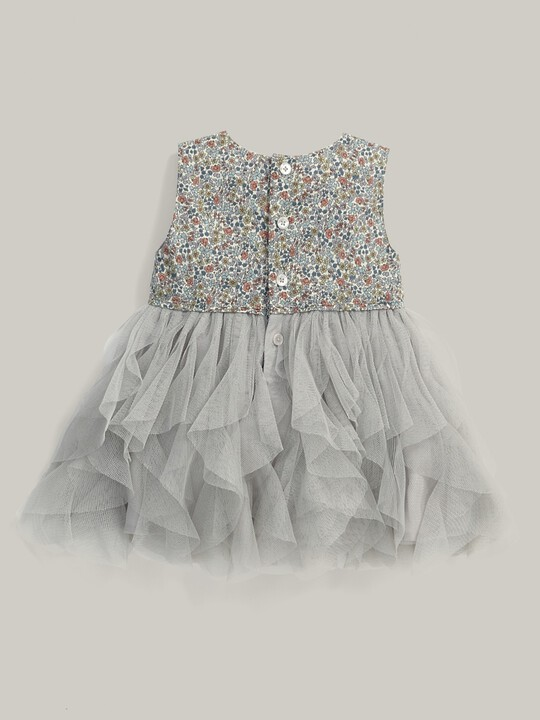 Liberty Print Waterfall Tulle Dress Cream image number 3