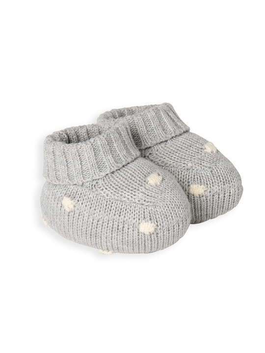 Grey Knitted Spot Booties image number 1