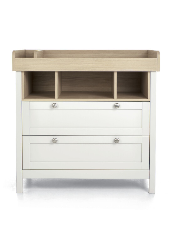 Harwell 4 Piece Cotbed with Dresser Changer, Wardrobe, and Essential Fibre Mattress Set- White image number 12