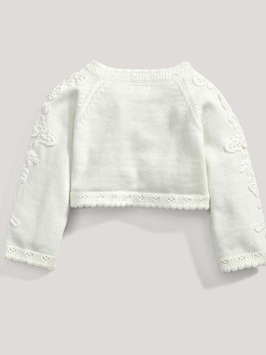 Lace Applique Detail Knit Cropped Cardigan Cream- New Born image number 3