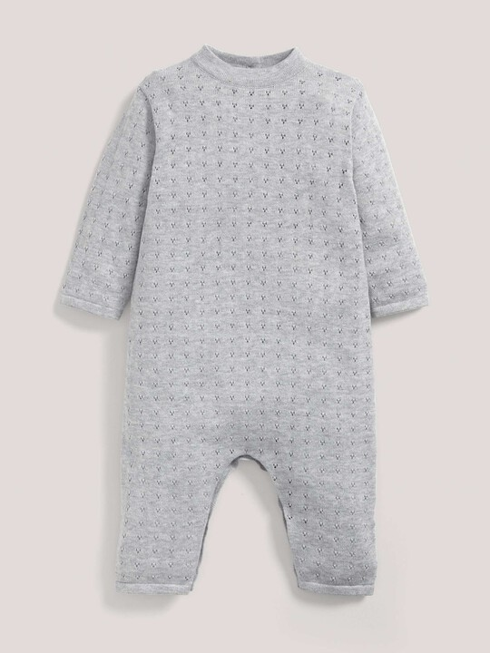 Fine Knit Romper with Pointelle Details Grey- New Born image number 1