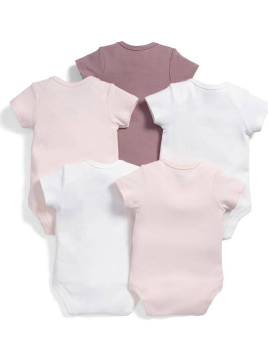 Short Sleeved Pink Bodysuits (5 Pack) image number 2