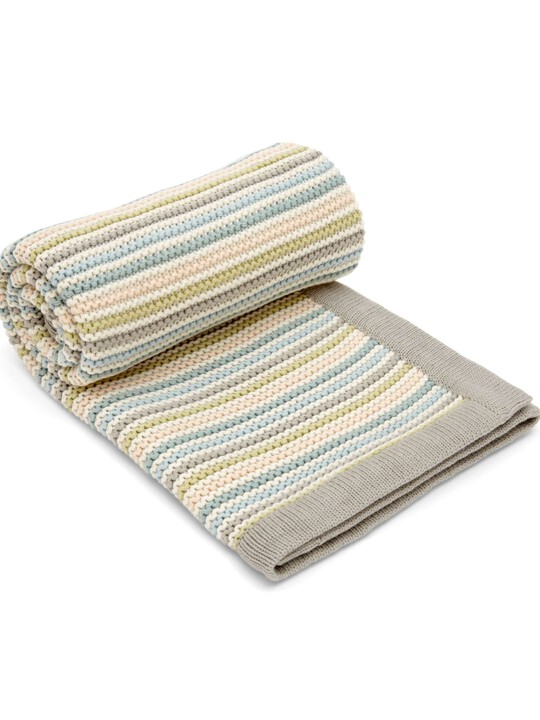 Small Knitted Blanket - Stripe Pastel image number 1