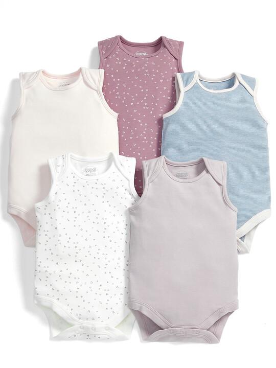 Pink Sleeveless Bodysuits (Set of 5) image number 1