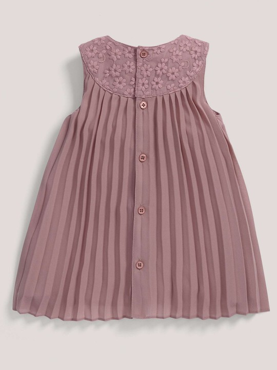 Pleated Dress with Lace Collar Pink- 0-3 image number 2