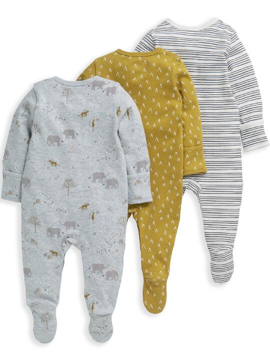 3 Pack Safari Sleepsuits  image number 2