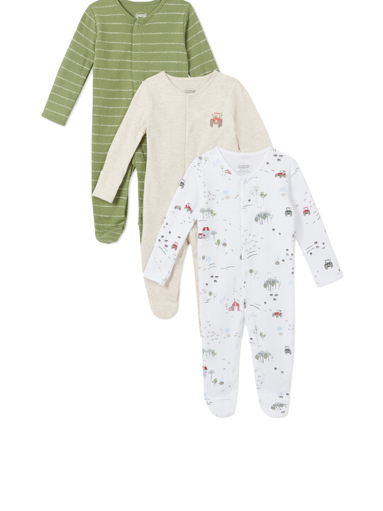 3Pack of  TRACTOR Sleepsuits image number 1