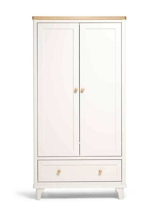 Lucca 2 Door Nursery Wardrobe with Storage Drawer - Ivory Oak image number 1