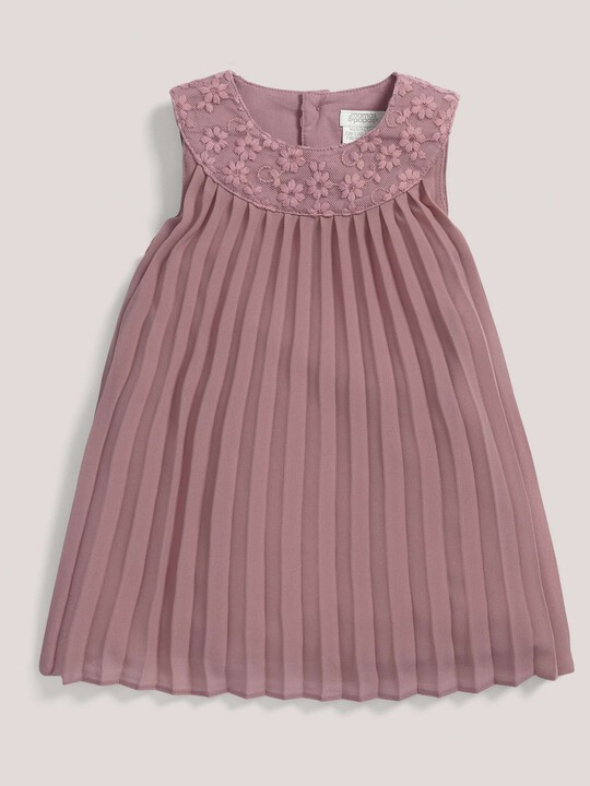 Pleated Dress with Lace Collar Pink- 0-3 image number 1