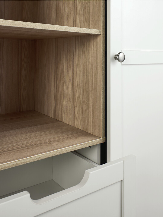 Harwell 4 Piece Cotbed with Dresser Changer, Wardrobe, and Essential Fibre Mattress Set- White image number 23