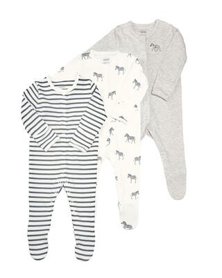 Zebra Sleepsuit - 3 Pack