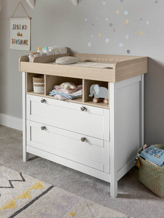 Harwell 4 Piece Cotbed with Dresser Changer, Wardrobe, and Essential Fibre Mattress Set- White image number 15