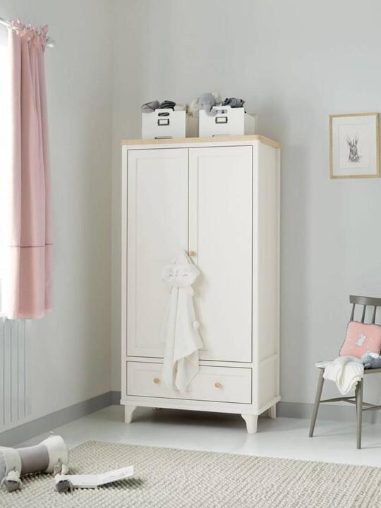 Lucca 2 Door Nursery Wardrobe with Storage Drawer - Ivory Oak image number 5