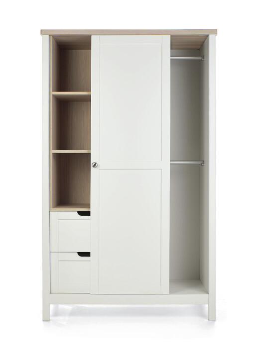 Harwell 4 Piece Cotbed with Dresser Changer, Wardrobe, and Essential Fibre Mattress Set- White image number 20