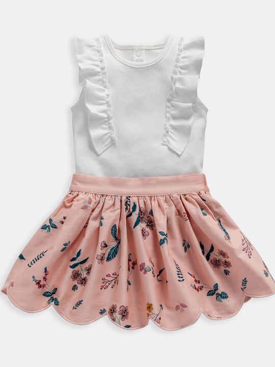 Floral Print Bodysuit & Skirt 2 Piece Set image number 1