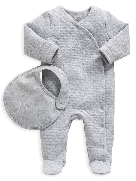 Grey Textured All-In-One with Bib image number 1