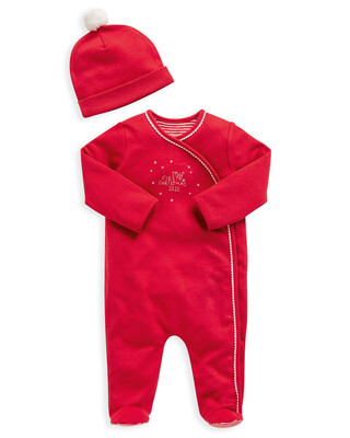 My 1st Christmas Red All-In-One & Hat