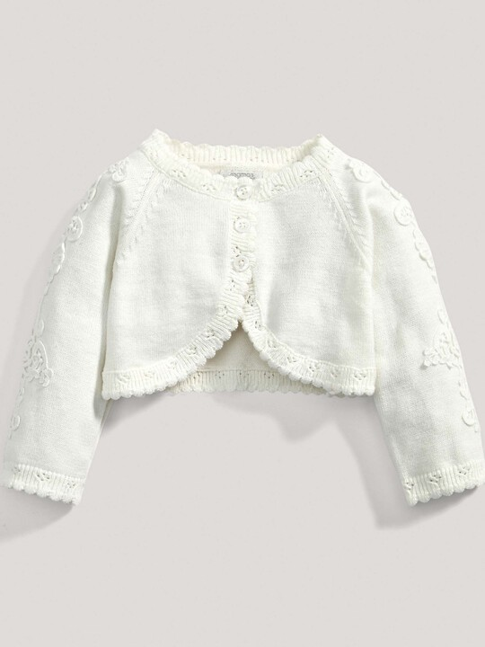 Lace Applique Detail Knit Cropped Cardigan Cream- New Born image number 2