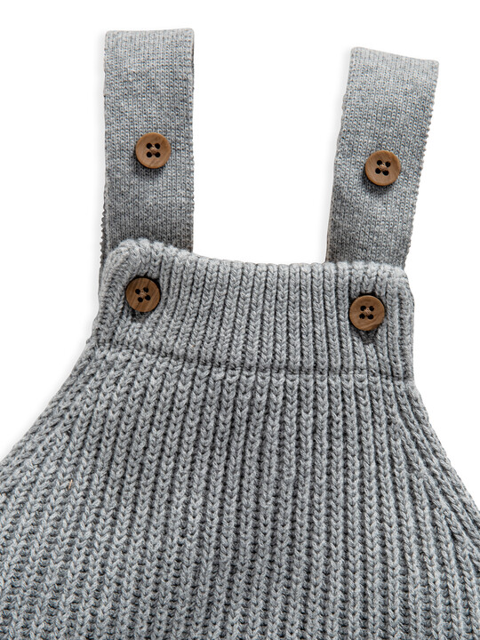 Grey Knitted Ribbed Dungaree image number 3