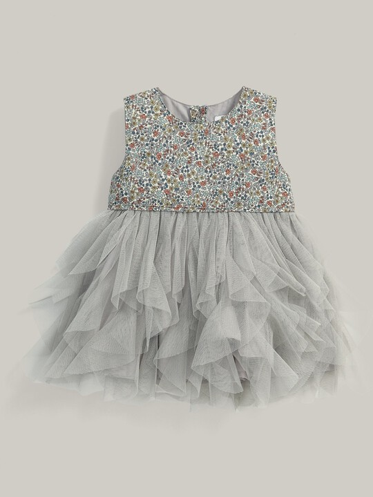 Liberty Print Waterfall Tulle Dress Cream image number 1
