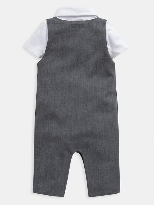 Grey Bodysuit & Dungaree 2 Piece Set image number 2