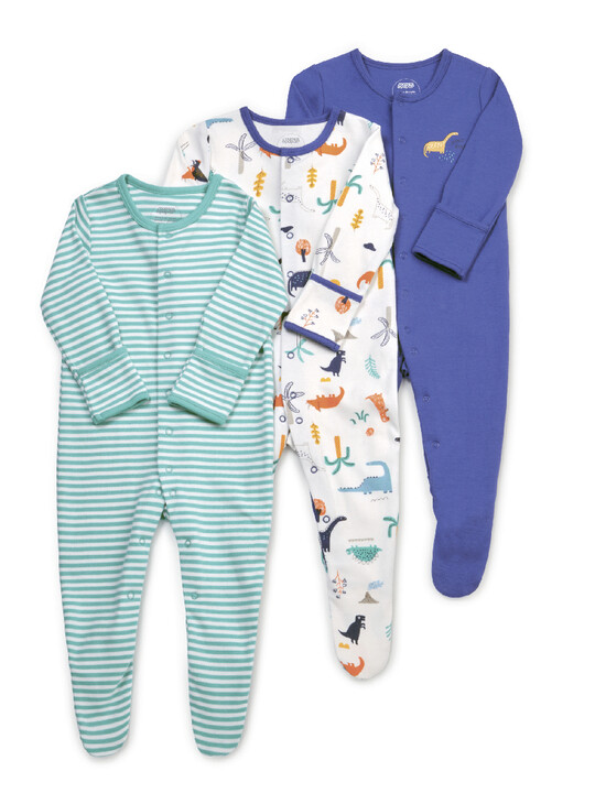 3 Pack Dino Sleepsuits image number 1