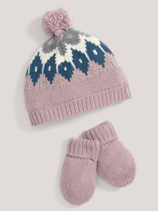 FAIRISLE HAT & MITTS:No Color:6-12 image number 1