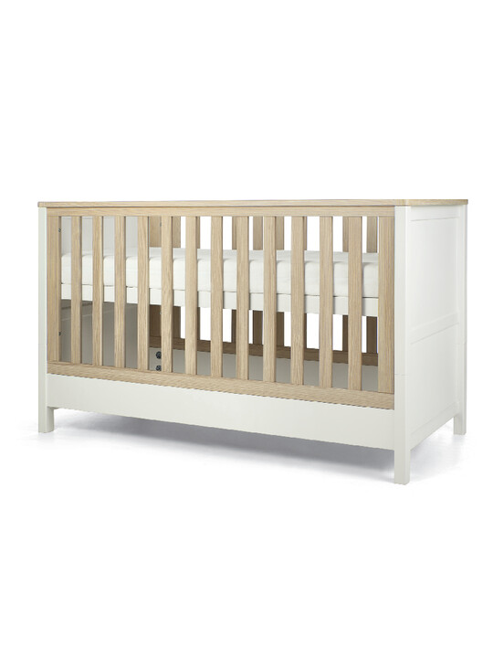 Harwell 4 Piece Cotbed with Dresser Changer, Wardrobe, and Essential Fibre Mattress Set- White image number 6
