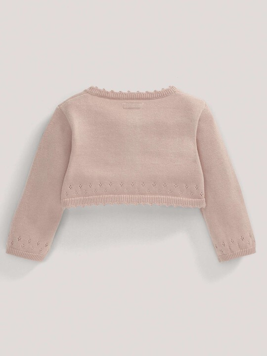 Pointelle Detail Knit Cropped Cardigan Pink- 0-3 image number 3