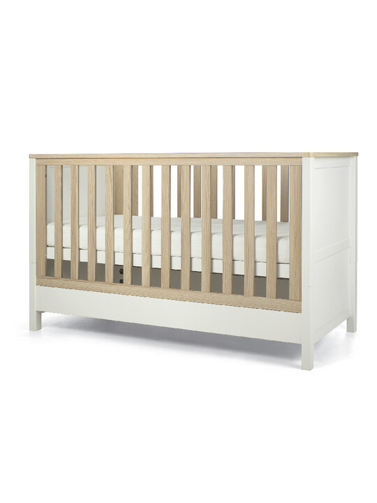 Harwell 4 Piece Cotbed with Dresser Changer, Wardrobe, and Essential Fibre Mattress Set- White image number 2