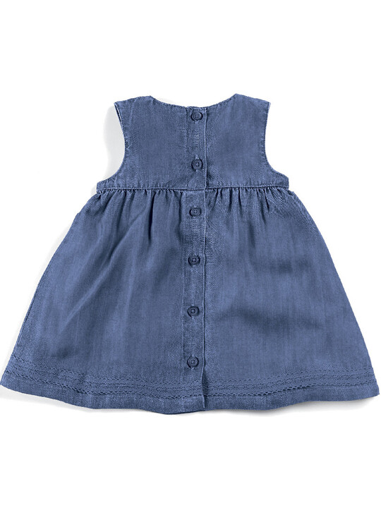 Blue Pin tuck Dress image number 7