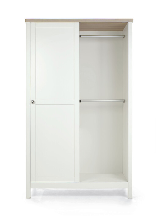Harwell 4 Piece Cotbed with Dresser Changer, Wardrobe, and Essential Fibre Mattress Set- White image number 21