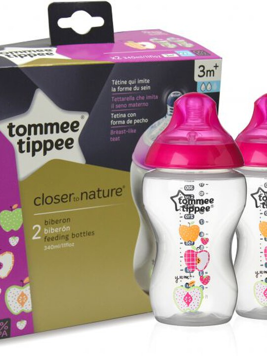 Tommee Tippee Closer to Nature 2x340ml Easi-Vent BPA free Decorative Feeding Bottles - Pink image number 1