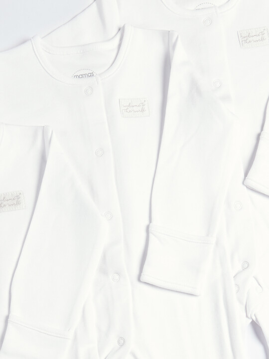 3 Pack of White Sleepsuits image number 2
