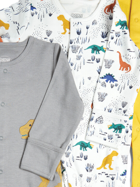 Pack of 3 Dino Sleepsuits image number 2