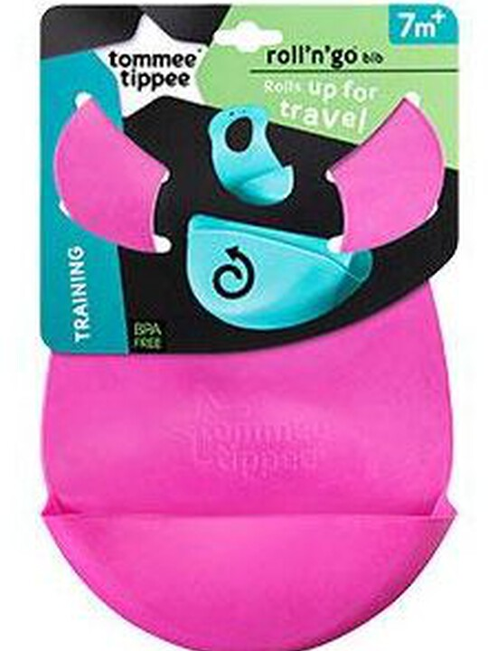 Tommee Tippee Explora Roll and Go Bib - Pink image number 2