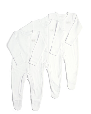 3 Pack of White Sleepsuits